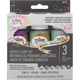 Testors Craft Acrylic Paint Set 3/Pkg-Metallic Jewels 297599
