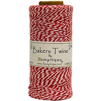 Hemptique Cotton Bakers Twine Spool 2 Ply 410 Feet Pkg Red White Bts2 9314
