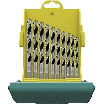 Wood twist drill bit set 10-piece 3 mm, 4 mm, 5 mm, 6 mm, 7 mm, 8 mm, 9 mm, 10 mm, 11 mm, 12 mm Heller 28708 1 Cylinder