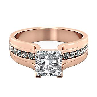 14K Rose Gold 1.20 CTW 5.50MM Moissanite Forever One Engagement Ring with Diamonds Bridge Princess