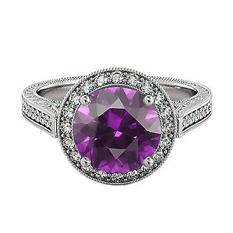2.10 ctw Amethyst Ring with Diamonds 14K White Gold Halo Filigree With Accents