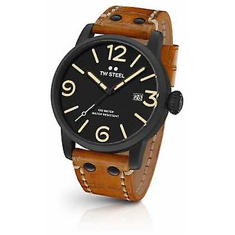 TW Steel Mens Maverick Black Sandwich Dial Tan Leather Strap 45mm MS31 Watch