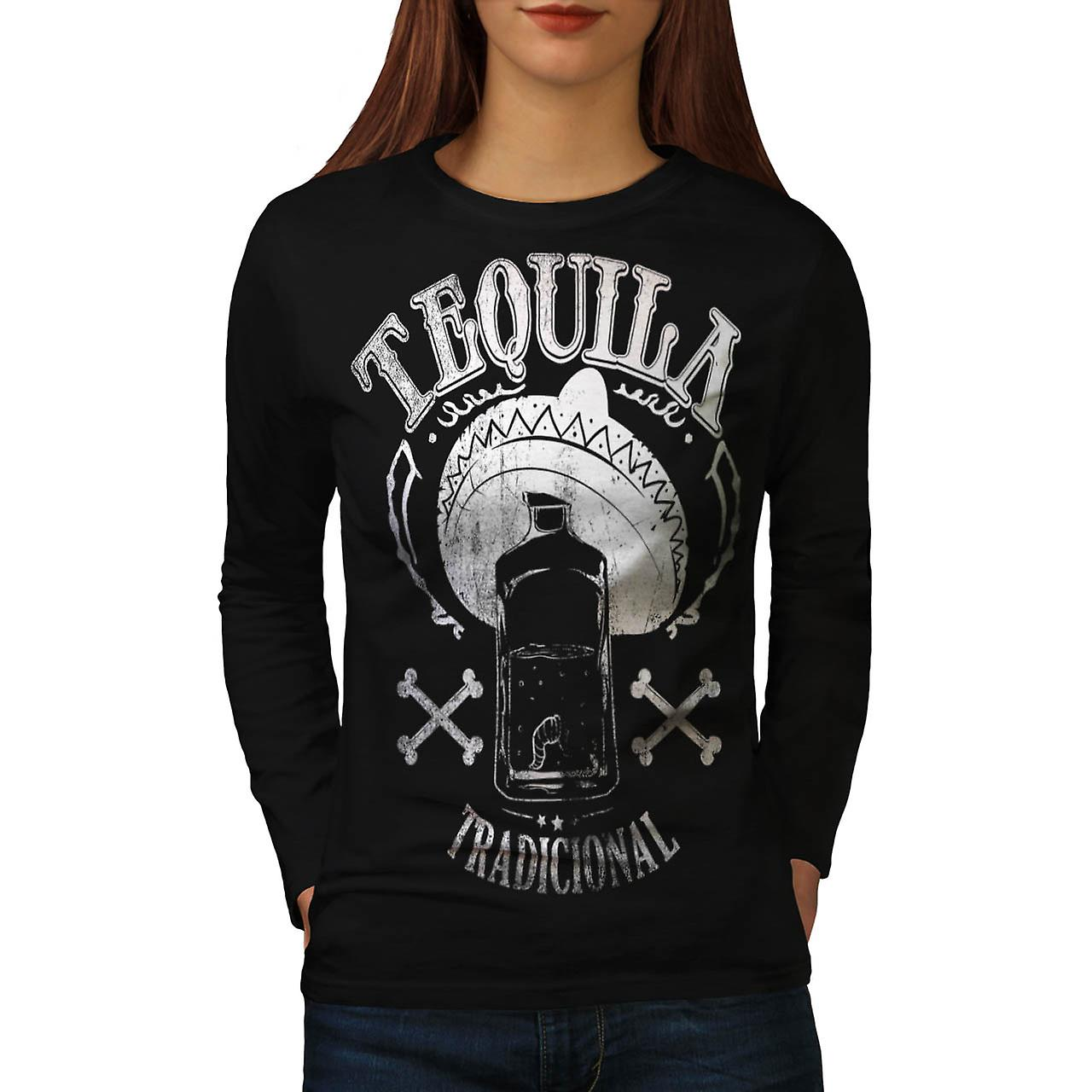 Tequila traditionnelles mexicaines Fun noir manches longues T-shirt | Wellcoda