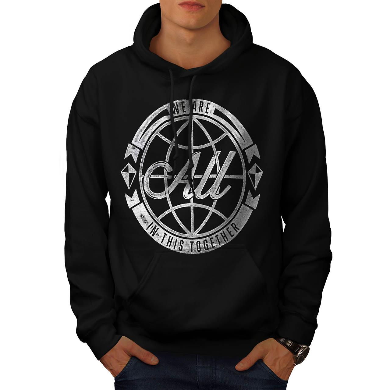 All In Together Team Work Group Men Black Hoodie | Wellcoda