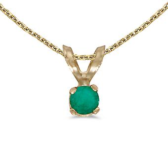 14k Yellow Gold Round Emerald Pendant with 18