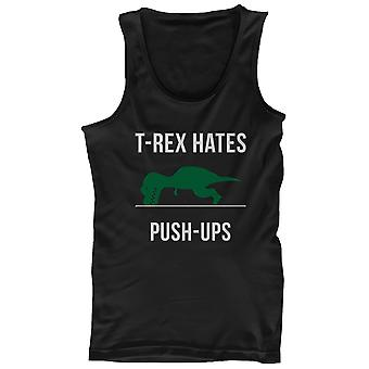 Men's Work Out Tank Top - T-Rex Hates Push Ups - Funny Workout Lazy Tanktop