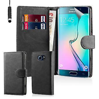 Book case for Samsung Galaxy S6 kant SM-G925 herunder stylus - sort