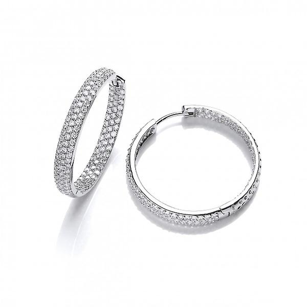 Cavendish French Sparkling Cubic Zirconia and Silver Hoop Earrings