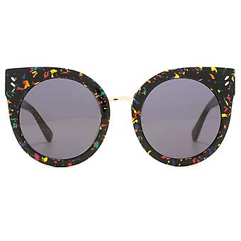 Stella McCartney Essentials Peaked Round Sunglasses In Black Pollock