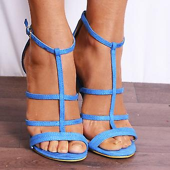 Koi Couture Ladies Blue Ed18 Faux Suede Peep Toes Ankle Strap Strappy Sandals High Heels