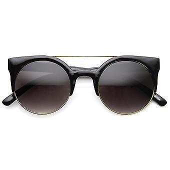 Double Bridge Crossbar Half Frame Cateye Sunglasses