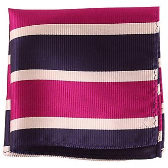 Knightsbridge Neckwear Striped Silk Pocket Square - Navy/Purple/Silver