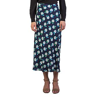 Miu Miu Women's Silk Fruit Print Long Skirt Navy