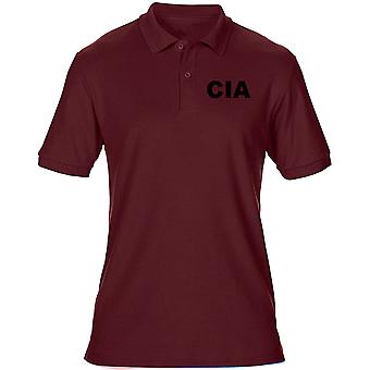 CIA Central Intelligence Agency Text Embroidered Logo - Mens Polo Shirt