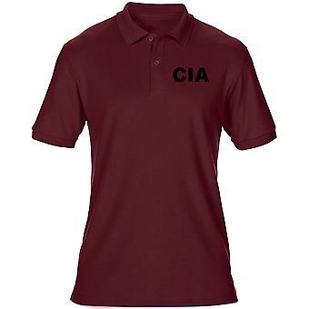 CIA Central Intelligence Agency Text Stickerei Logo - Herren Poloshirt