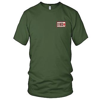 US Army - sangue di tipo O negativo deserto ricamato Patch - Hook e Loop Mens T-Shirt