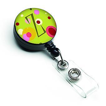 Letter Z Monogram - Lime Green Retractable Badge Reel