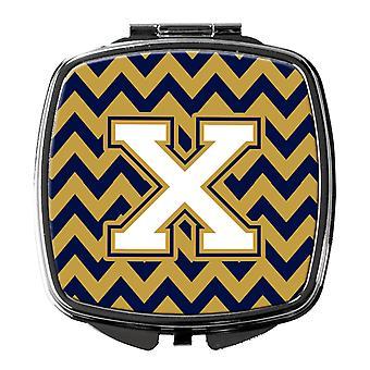 Buchstabe X Chevron Navy Blau und Gold Taschenspiegel