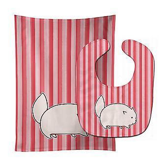 Carolines Treasures  BB6855STBU Cat Pink Stripes Baby Bib & Burp Cloth