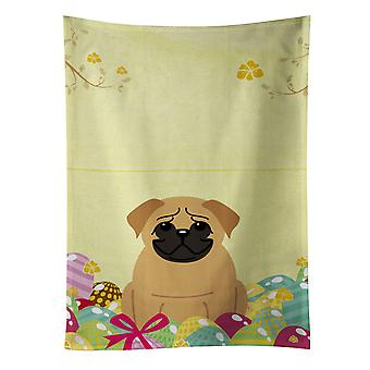 Carolines Treasures  BB6007KTWL Easter Eggs Pug Brown Kitchen Towel