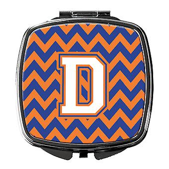 Letter D Chevron Blue and Orange #3 Compact Mirror
