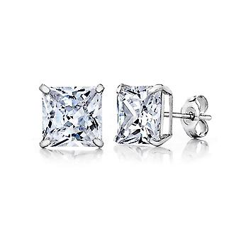 10k White Gold Square CZ Stud Earring
