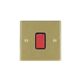 Hamilton Litestat Hartland Satin Brass 1g 45A Double Pole Red Rocker/BL