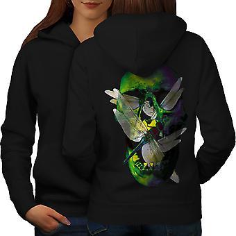 Art Skull Bug Metal Women BlackHoodie Back | Wellcoda