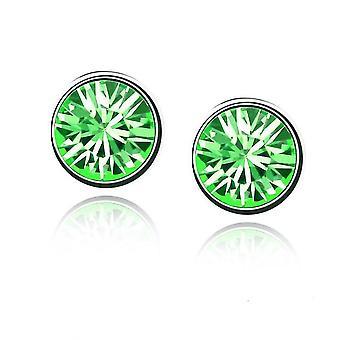 Womens Girls Small Crystal Stud Earrings Jewellery Green