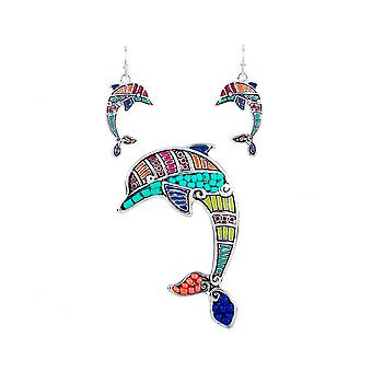Parure: Necklace and earrings multicolor Dolphin