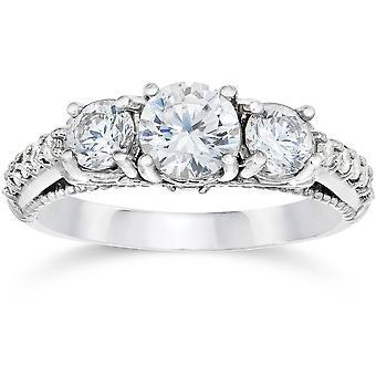 1 1 / 5ct Vintage arvestykke diamant forlovelsesring 14K hvitt gull