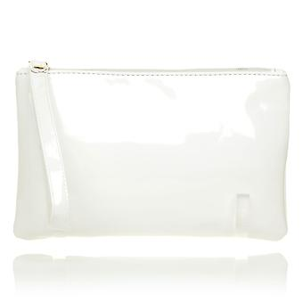 CHEEKY White Patent PU Leather Clutch Bag/Purse With Wrist Strap