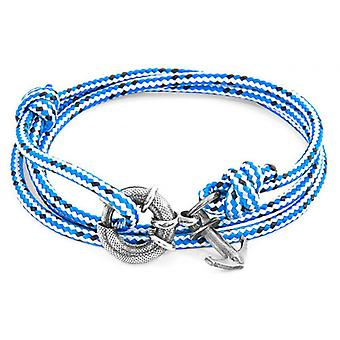 Anchor and Crew Clyde Silver and Rope Bracelet - Blue Dash