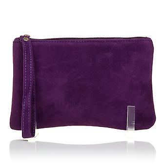 CHEEKY Purple Faux Suede Clutch Bag/Purse With Wrist Strap