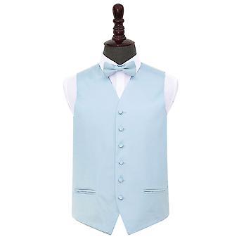 Baby Blue Plain Satin Wedding Waistcoat & Bow Tie Set