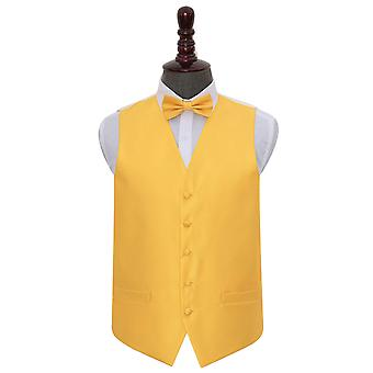 Sunflower Gold Solid Check Wedding Waistcoat & Bow Tie Set