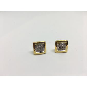 Gold Plated & Precious Gems Square Stud Earrings
