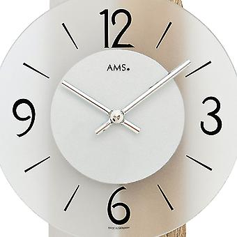AMS 7296 wall clock pendulum wooden rear wall mineral glass crystal