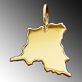 Trailer map Congo pendants solid 585 yellow gold