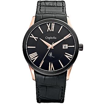 ORPHELIA Mens Analogue Watch Mystery Black Leather 132-6710-44