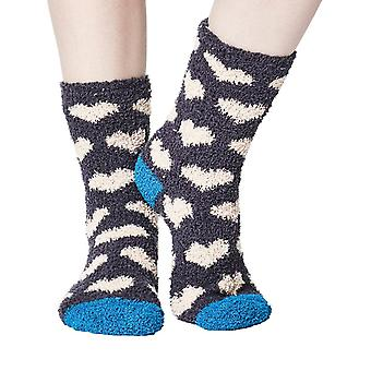 Heart women's soft fluffy sofa and bed socks in slate | By Thought
