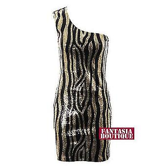 Ladies One Shoulder Vertical  Shiny Gold Black Sequin Short Bodycon Womens Dress