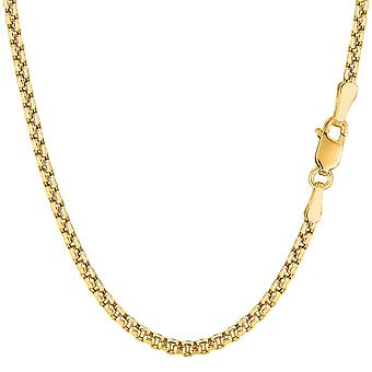 14k Yellow Gold Round Box Chain Necklace, 3.4mm