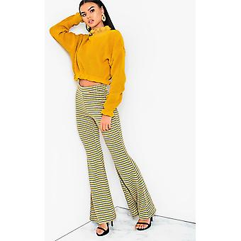 IKRUSH Womens Cindy High Waist Printed Flare Trousers