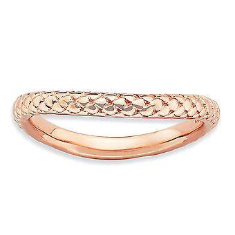2.25mm Sterling Silver Textured Patterned Stackable Expressions Polished Pink-plate Wave Ring - Ring Size: 5 to 10