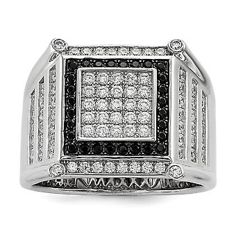Sterling Silver Pave Rhodium-plated and Cubic Zirconia Brilliant Embers Black And White Mens Ring - Ring Size: 9 to 11