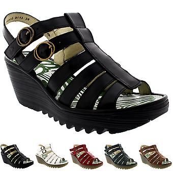 Womens Fly London Ygor Rug Leather Gladiator Summer Wedge Heel Sandals