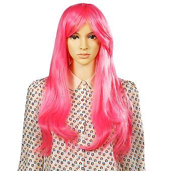 TRIXES długi różowy Wig miękkie fale naturalny wygląd warstw syntetyczne włosy faliste