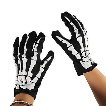 TRIXES volwassen Unisex - skelet bot handschoenen-Black en White-One Size