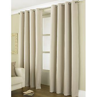 "Luxury Linea Beige Blackout Curtains Energy Saving Eyelet Curtain Pair 46"" x 54"""